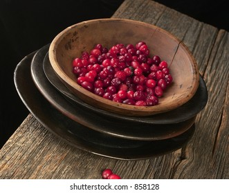 Bowl of Cranberries on Farm Table