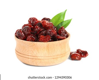 Bowl with cranberries on white background. Dried fruit as healthy snack