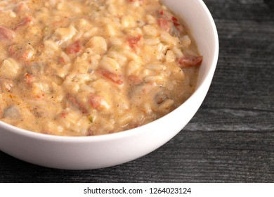 A Bowl of Crawfish Etouffee with Rice