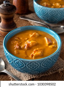 A bowl of creamy delicious homemade lobster bisque.