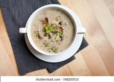 a bowl of creamy mushroom soup