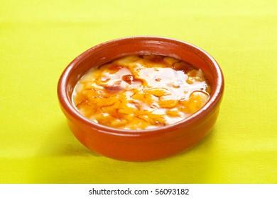 bowl of crema catalana delicious typical Spanish dessert