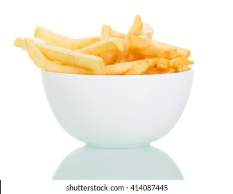 A bowl of crispy french fries isolated on white background.
