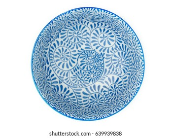bowl, decorated with blue painted, isolate on white background, flat lay.