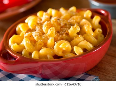 A bowl of delicious creamy home made mac and cheese.