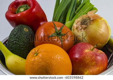 bowl delicious fruit vegies stock photo edit now 603598862