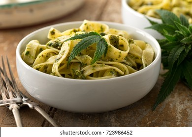 A bowl of delicious pasta with homemade marijuana pesto.