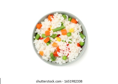 Bowl of delicious rice with vegetables isolated on white background
