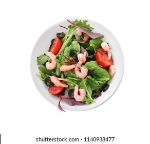 Bowl of delicious vegetable salad with seafood on white background
