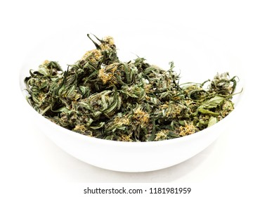 A bowl of dried and cured marijuana