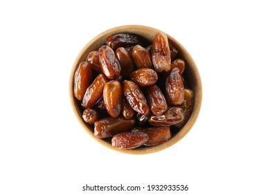 Bowl with dried dates isolated on white background