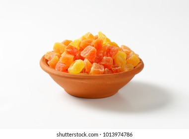 Bowl of dried diced papaya