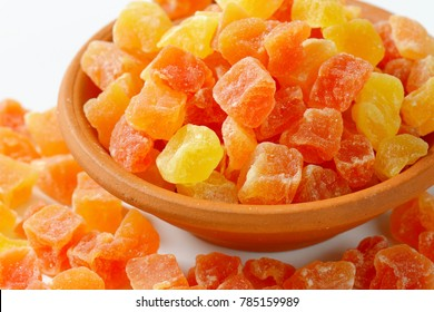 Bowl of dried diced papaya