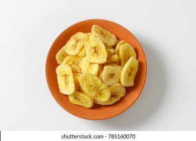 Bowl of dried thin banana slices