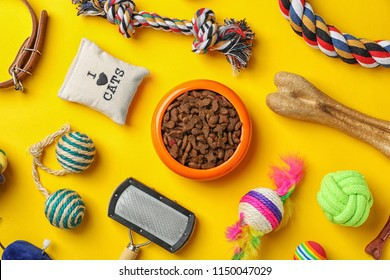 Bowl with food for cat or dog and accessories on color background. Pet care