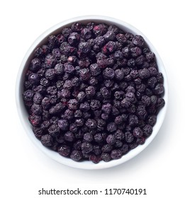 Bowl of freeze dried blueberries isolated on white background. Top view