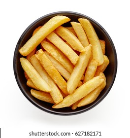 Bowl of french fries isolated on white background, top view