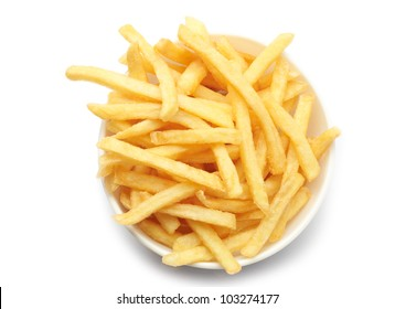 bowl of french fries on white