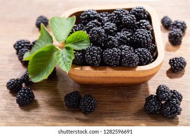 bowl of fresh blackberry on wooden table