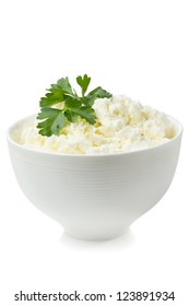 Bowl with fresh cottage cheese