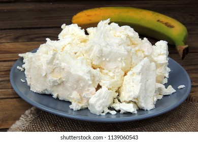 Bowl of fresh cottage cheese and sour cream