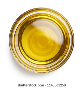 Bowl of fresh extra virgin olive oil isolated on white background. Top view