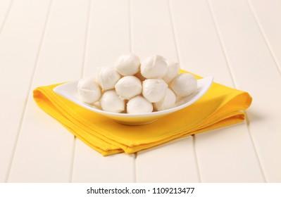Bowl of fresh mozzarella cheese