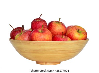 A bowl with fresh red apple on the white background