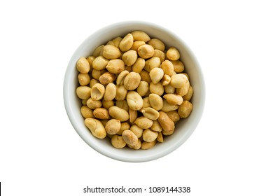 Bowl of fresh roasted shelled peanuts isolated on white viewed from the top down in a generic white ceramic dish