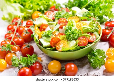 bowl of fresh salad with vegetables