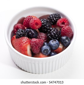 Bowl of fresh strawberries, raspberries, blackberries and blueberries