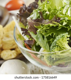 Bowl Of Fresh Vegetable Salad,Close Up