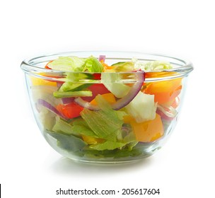 bowl of fresh vegetables on a white background