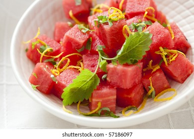 bowl of fresh watermelon ready to eat - fruits and vegetables
