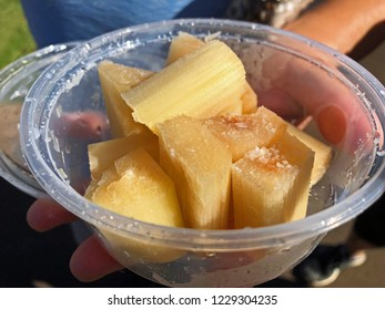 Bowl of freshly cut sugar cane, Kauai, Hawaii