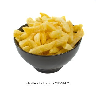 Bowl of freshly fried hot chips isolated over white background