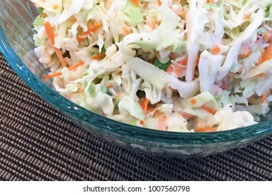 Bowl of freshly made cole slaw