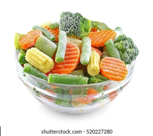 Bowl with frozen vegetables isolated on white