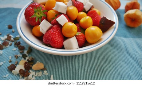 Bowl of Fruits on Aqua Background