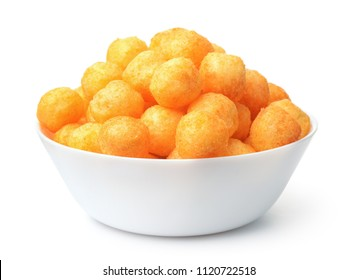 Bowl full of cheese puff balls isolated on white