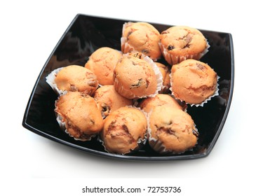 Bowl full of delicious muffins with sugar - sweet food