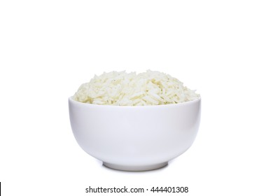 Bowl full of herb rice isolated on white background