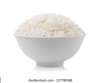 bowl full of rice on white background