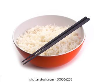 bowl full of rice on white , white  background.