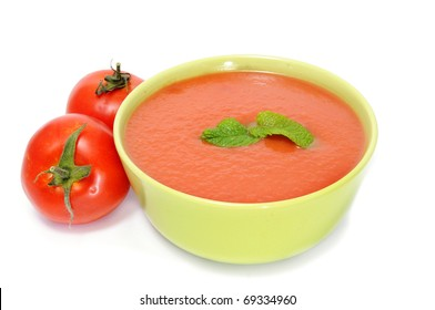 a bowl with gazpacho isolated on a white background