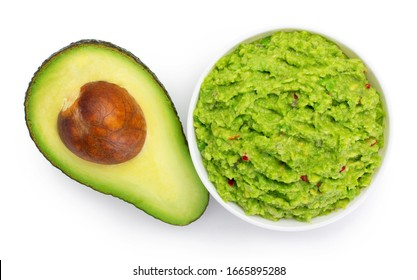 bowl of guacamole with avocado isolated on white background