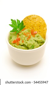 bowl of guacamole isolated