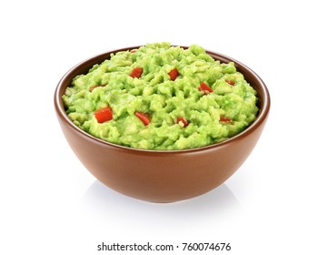 Bowl with guacamole isolated on white background. With clipping path.