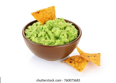 Bowl with guacamole and nachos isolated on white background. With clipping path.