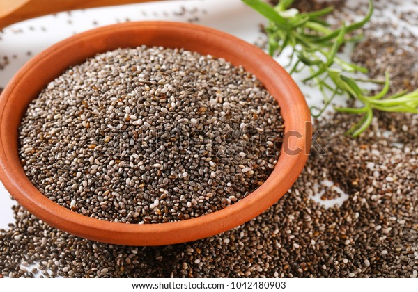 bowl of healthy chia seeds - close up
